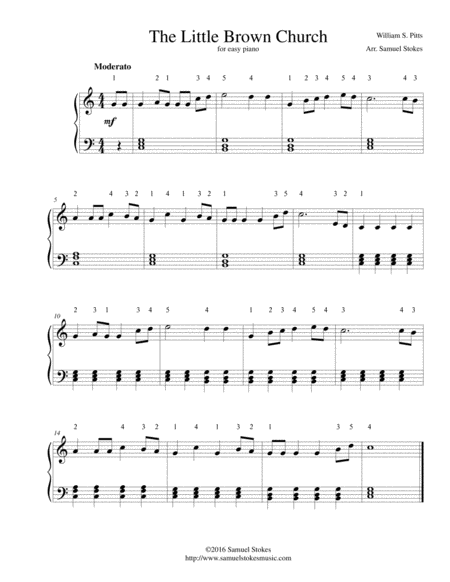 The Little Brown Church (The Church in the Wildwood) - for easy piano