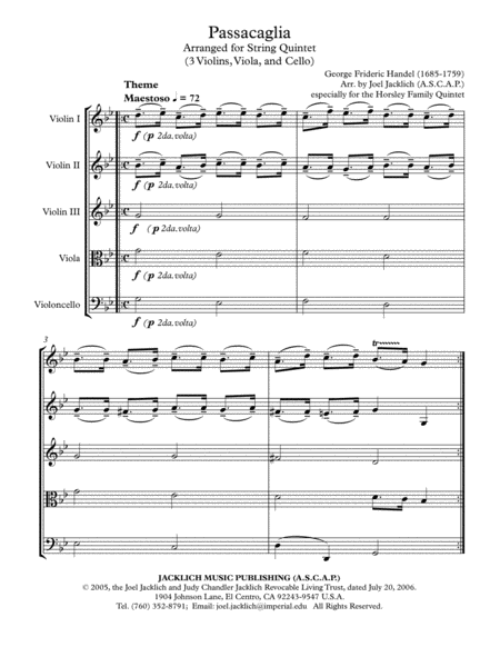 Passacaglia in g minor for String Quintet (3 Violins, Viola, and Cello)