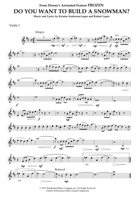 Do You Want To Build A Snowman? (from FROZEN) for String Quartet