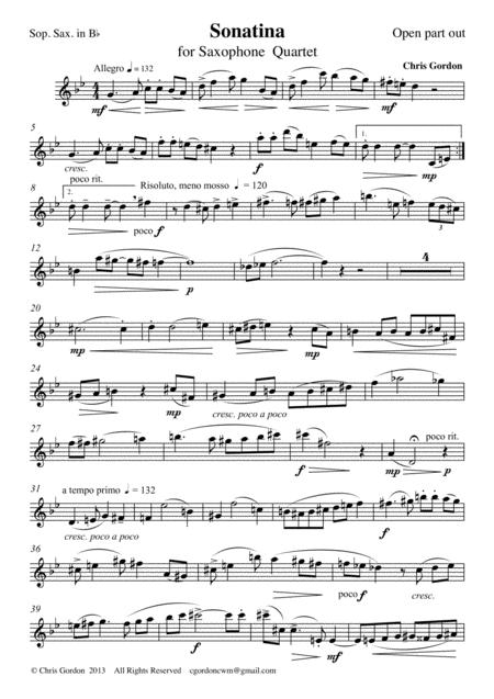 Sonatina for Saxophone Quartet (Soprano Saxophone Part)