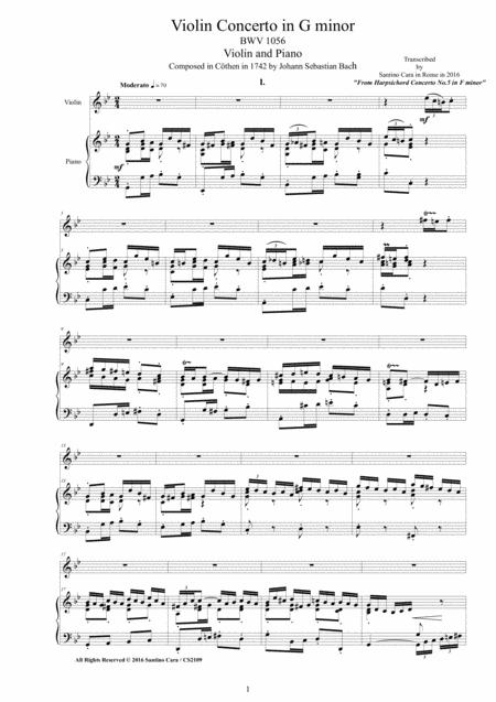 Bach - Violin Concerto in G minor BWV 1056 for Violin and Piano