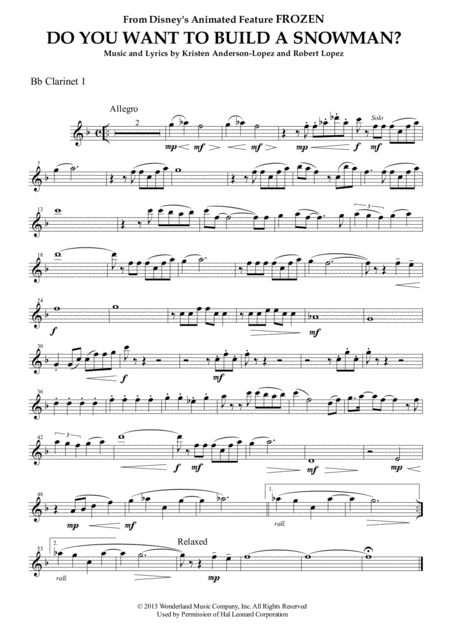 Do You Want To Build A Snowman? (from FROZEN) for Clarinet Quartet