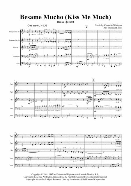Besame Mucho ( Kiss me a lot ) - World famous Rumba - Brass Quintet