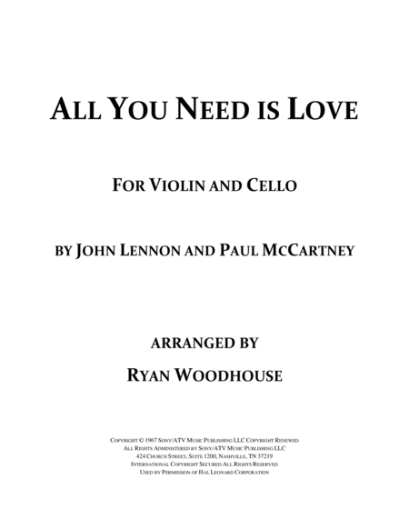 All You Need Is Love - Violin and Cello