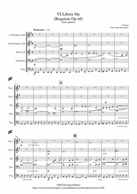 Faure: Requiem Op.48: VI. Libera Me - brass quintet