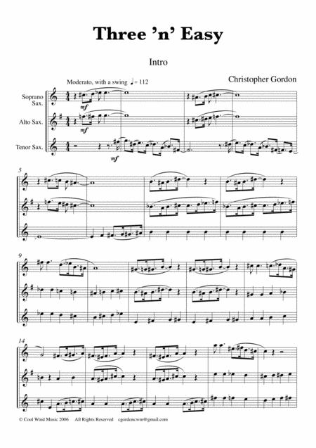 Three 'n' Easy for Saxophone Trio (Soprano, Alto and Tenor Saxophones)