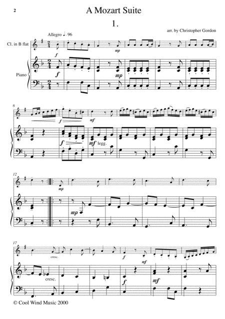 A Mozart Suite (for Clarinet in B flat and Piano)
