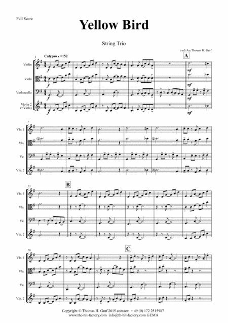 Yellow Bird - Haitian Folk Song - Calypso - String Trio