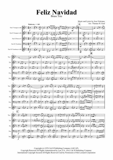 Feliz Navidad - Christmas Classic - Brass Trio