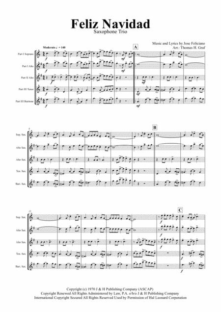 Feliz Navidad - Christmas Classic - Saxophone Trio