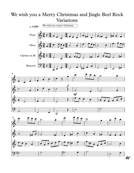We Wish you a Merry Christmas and Jingle Bell rock Variations (Wind Quartet)