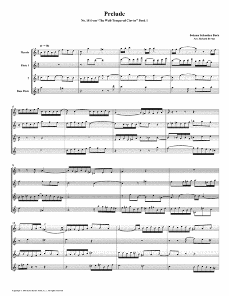 Prelude No. 18 from Well-Tempered Clavier, Book 1 (Flute Quartet)