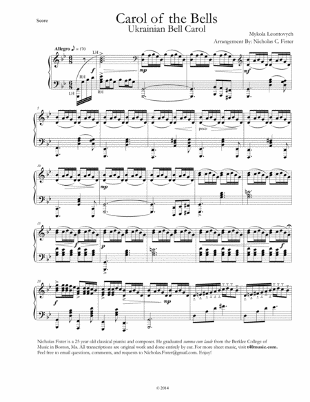 Carol of the Bells Piano (3 different versions)