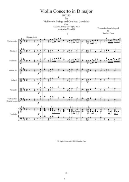 Vivaldi - Violin Concerto in D major RV 230 for Violin solo, Strings and Continuo