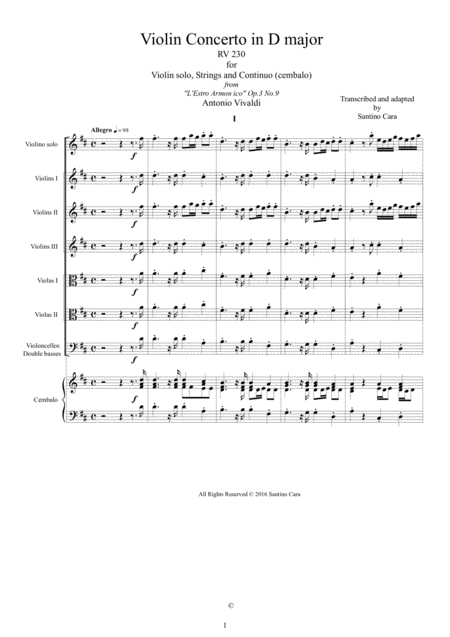 Violin Concerto No.9 Op.3 in D major RV 230 for Violin solo, Strings and Continuo