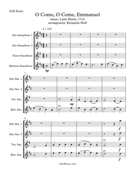 O Come, O Come Emmanuel for Sax Quartet