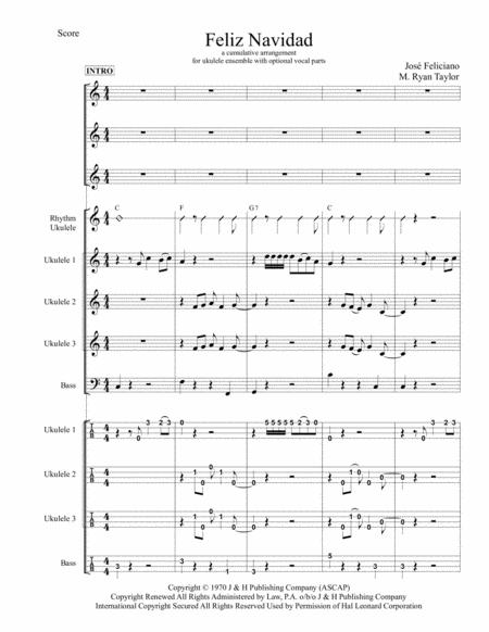 Feliz Navidad for Ukulele Trio / Ensemble / Band / Orchestra with optional Vocals