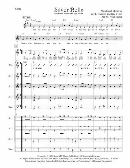 Silver Bells for Ukulele Trio / Ensemble / Band / Orchestra with optional Vocals