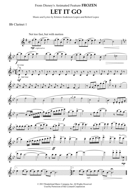 Let It Go (from FROZEN) for Clarinet Quartet