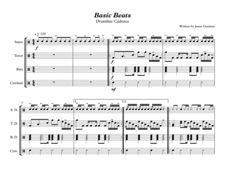 Basic Beats - Drumline Cadence - Difficulty: Easy