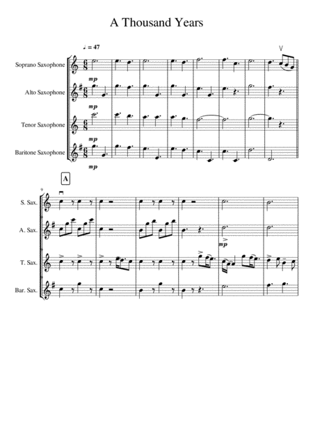 A Thousand Years for Saxophone Quartet SATB