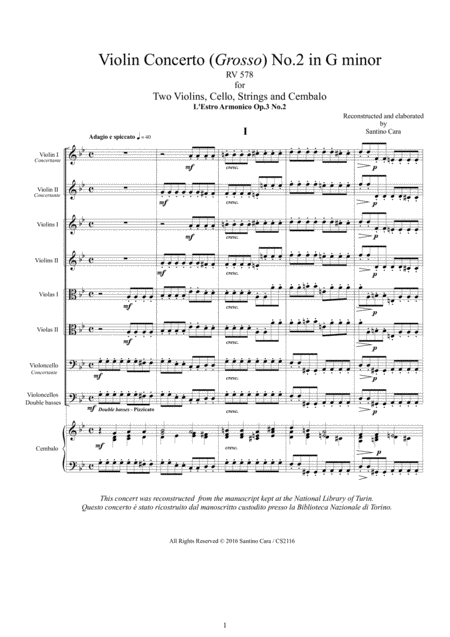 Vivaldi - Violin Concerto No.2 in G minor RV 578 Op.3 for Two Violins, Cello, Strings and Cembalo