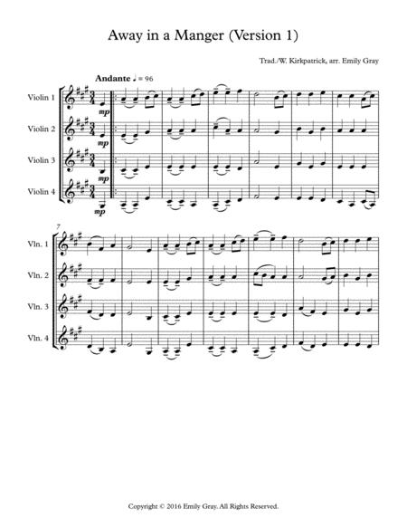 Away in a Manger (4 Violins)
