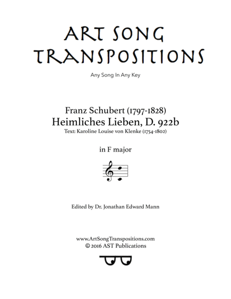Heimliches Lieben, D. 922b (F major)