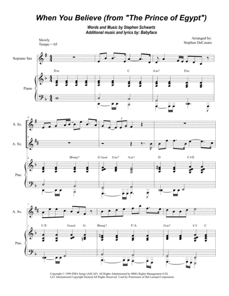 When You Believe (From The Prince Of Egypt) (Soprano and Alto Saxophone Duet)