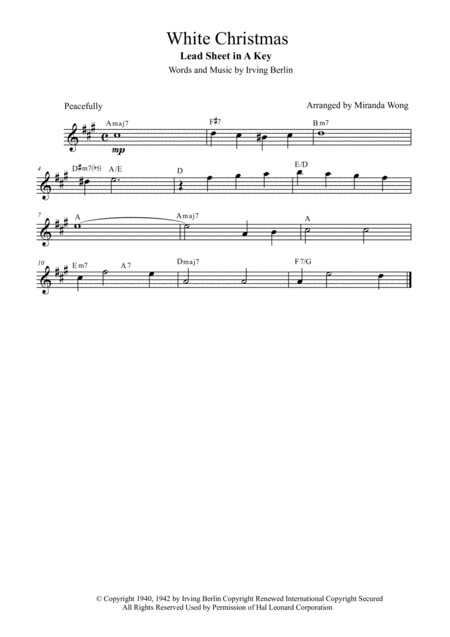 White Christmas - Christmas Music for Flute and Piano in A Key (With Chords)