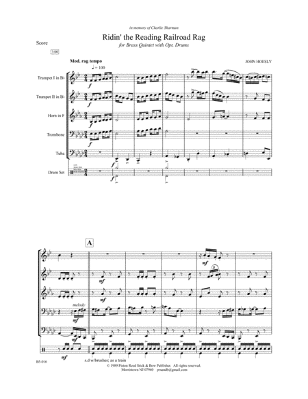 Ridin' The Reading Railroad Rag- brass quintet