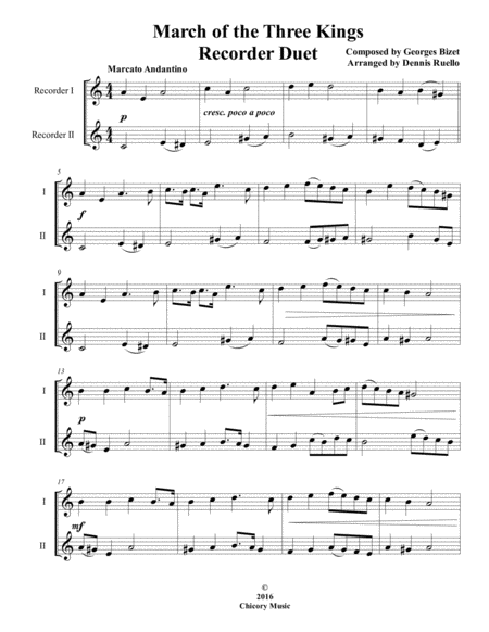 March of the Three Kings - Soprano Recorder Duet - Intermediate