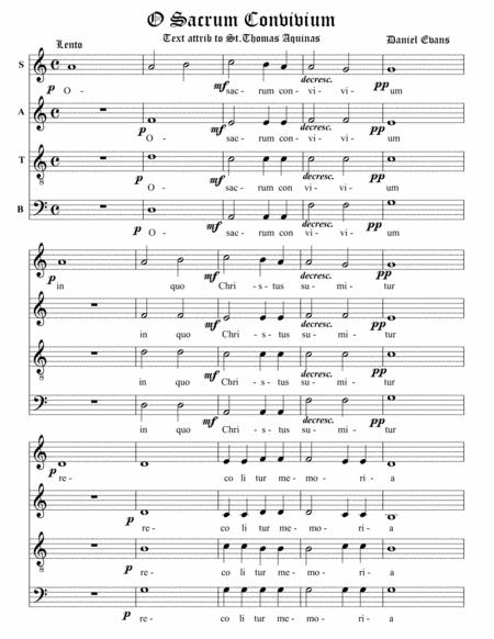 O Sacrum Convivium for SATB a capella