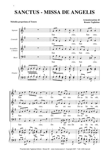SANCTUS - Missa De Angelis - Arr. For SATB Choir