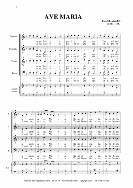AVE MARIA - J. Arcadelt - For SATB Choir and Organ