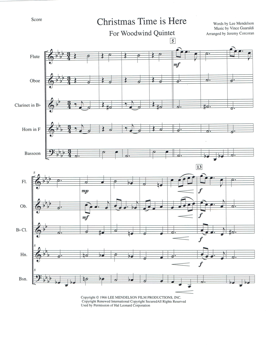 Christmas Time Is Here for Woodwind Quintet