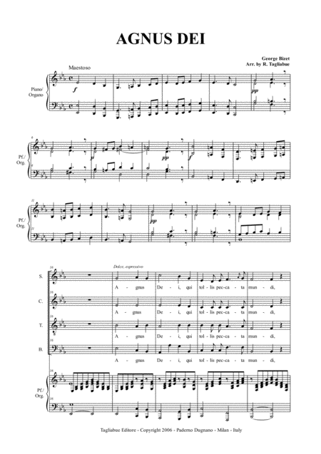 AGNUS DEI - G. Bizet - Arr. for SATB Choir and Organ/Piano