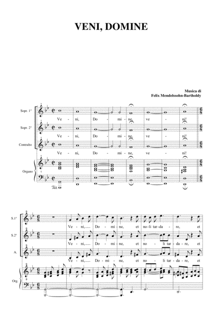 VENI DOMINE - For SSA Choir and Organ