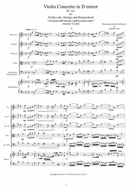 Vivaldi - Violin Concerto in D minor RV 242 Op.8 No.7 for Violin, Strings and Harpsichord
