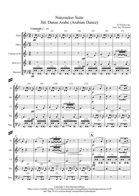 Tchaikovsky: Casse-Noisette: Nutcracker Suite IId Danse Arabe (Arabian Dance) - wind quintet