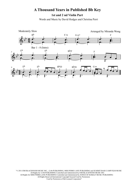 A Thousand Years - 2 Violins Duet in Published Bb Key (With Chords)