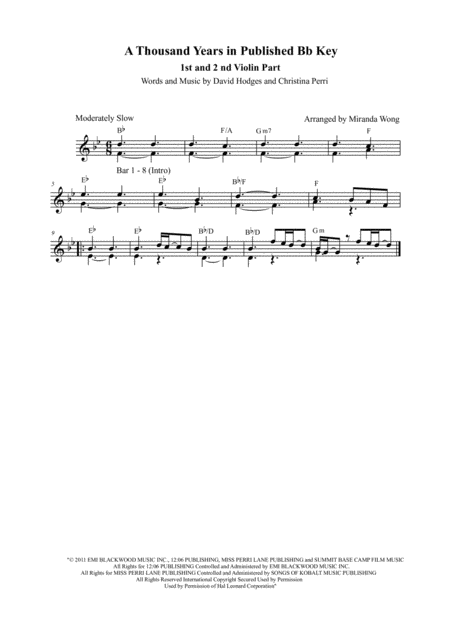 A Thousand Years - 2 Violins, Piano & Cello in Published Bb Key (With Chords)