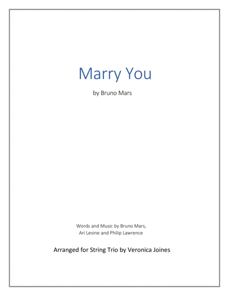 Marry You-String Trio (Violin 1, Violin 2, Cello)