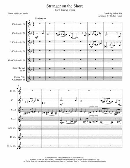 Stranger On The Shore For Full Clarinet Choir