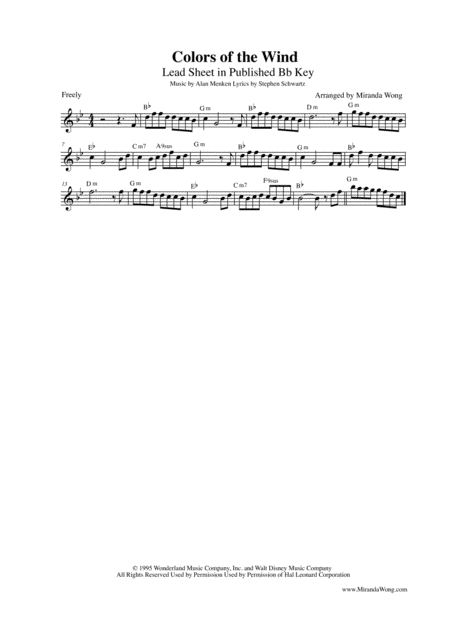 Colors Of The Wind - Lead Sheet in 5 Different Keys (With Chords)