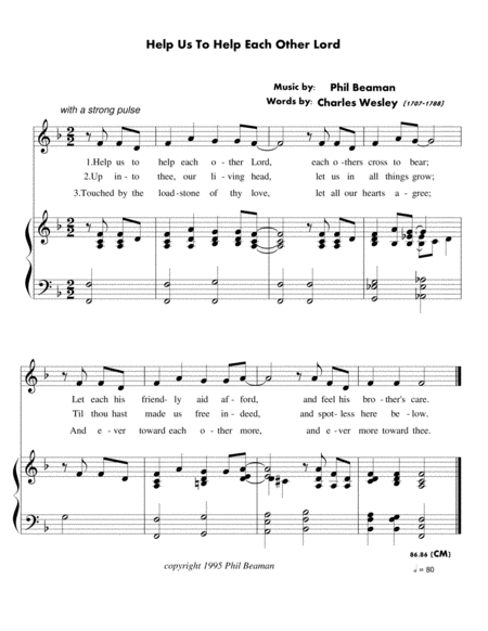 Help Us To Help Each Other Lord - unison choral hymn