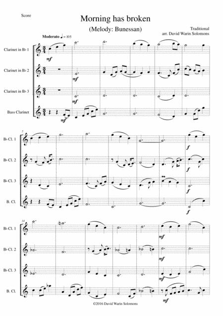 Morning has broken (Bunessan) for clarinet quartet (3 B flats and 1 bass)