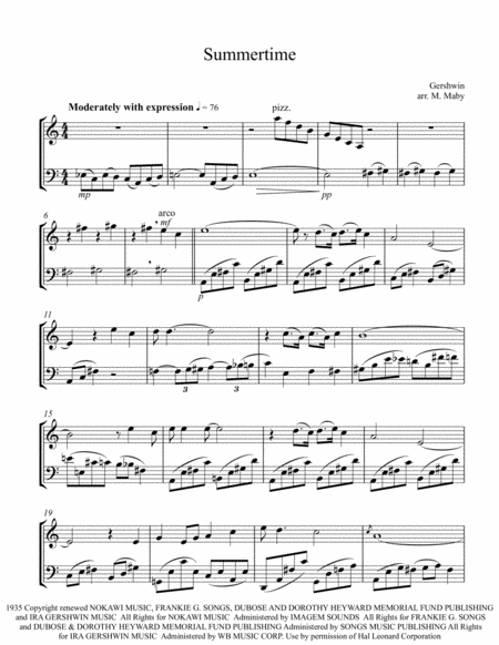 Download Summertime Violin & Cello Duet Sheet Music By George ...