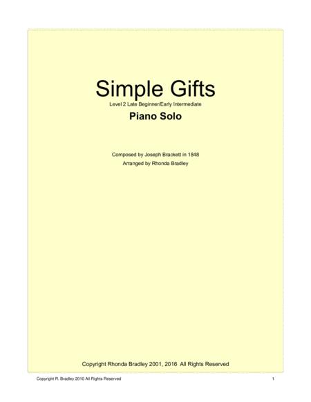 Simple Gifts Piano Solo Intermediate level
