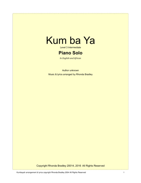 Kum ba Yah contemporary arrangement in English and African